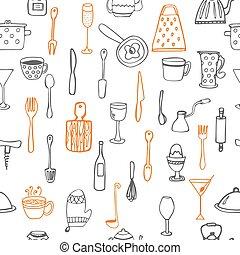 padrão, cozinha, seamless, utensílio