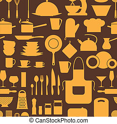 padrão, cozinha, utensils., seamless, restaurante