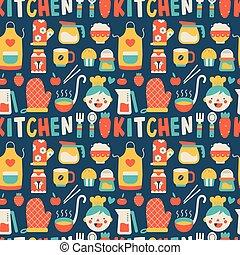 padrão, cozinhar, seamless, coloridos, ícones