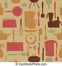 padrão, cozinhar, seamless, ilustração, vetorial, ferramentas, cozinha