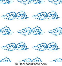 padrão, cresting, oceânicos, seamless, ondas