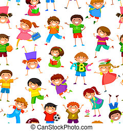 padrão, crianças, caricatura