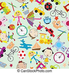 padrão, crianças, seamless, brinquedos