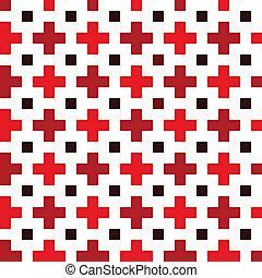 padrão, crucifixos, vermelho, seamless