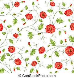 padrão, de, papoula, flores