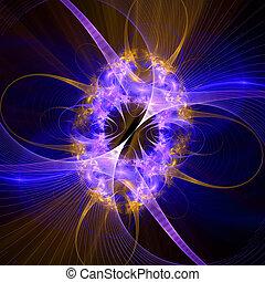 padrão, de, um, grade, e, luminoso, glowing, lights.,...