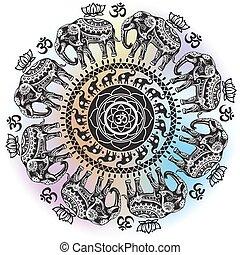 padrão, decorado, redondo, elefantes