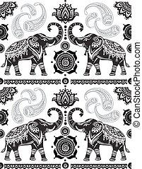 padrão, decorado, seamless, elefantes
