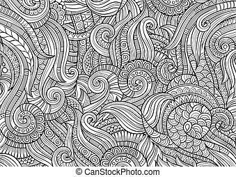 padrão decorativo, abstratos, mão, sketchy, étnico,...