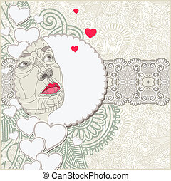 padrão decorativo, com, mulheres, rosto, composição