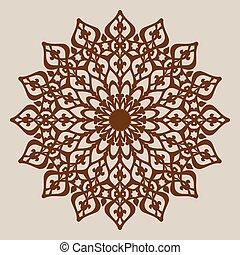 padrão decorativo, mandala, rosette, modelo
