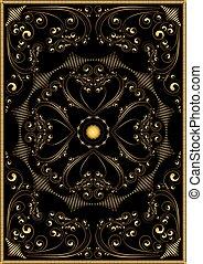 padrão decorativo, oriental, ouro