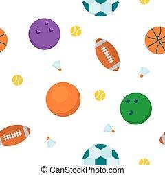padrão, desporto, seamless, bola