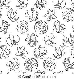 padrão, diferente, flowers., seamless