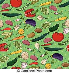 padrão, diferente, legumes frescos, seamless