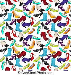 padrão, diferente, seamless, sapatos