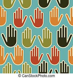 padrão, diversidade, seamless, mãos