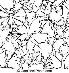 padrão, doodle, borboletas, seamless, cute, feito