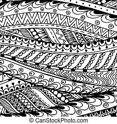padrão, doodle, preto étnico, vector., asiático, branca