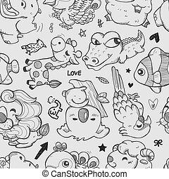padrão, doodle, seamless, animal