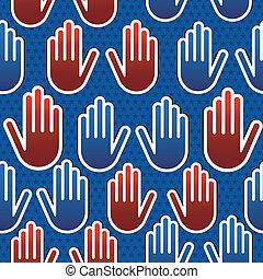 padrão, eleições, eua, mão