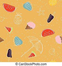 padrão, elementos, praia, seamless, doodle