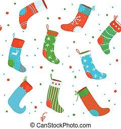 padrão, engraçado, meias, natal, seamless, desenho