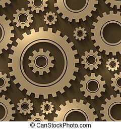 padrão engrenagem, abstratos, seamless, experiência., vetorial, desenho, engrenagens, cogwheels