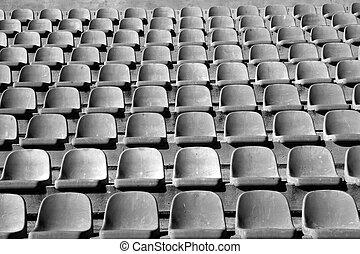 padrão, envelhecido, tribuna principal, plataformas, estádio