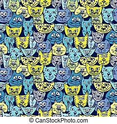padrão, esboço, coloridos, gato