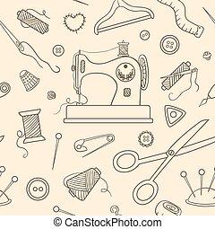padrão, esboço, cosendo, seamless
