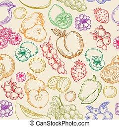padrão, esboço, frutas