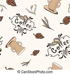 padrão, esboço, vetorial, estilo, coffe