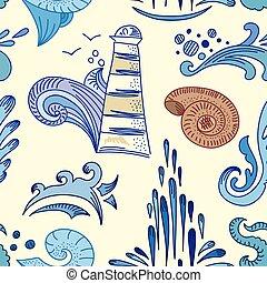 padrão, esboço, vetorial, mar
