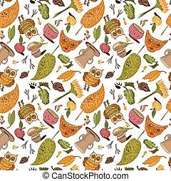 padrão, esboço, vetorial, outono