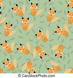 padrão, escandinavo, seamless, fox.