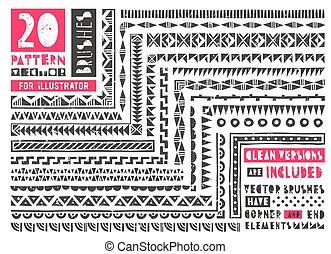 padrão, escovas, jogo, 20, illustrator.