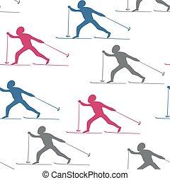 padrão, esquiadores, seamless, abstração