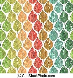 padrão, estações, seamless, luminoso, leaves., diferente