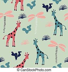 padrão, estilo, girafa, seamless, escandinavo