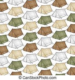 padrão experiência, com, turista, barraca, para, viagem, e, acampamento