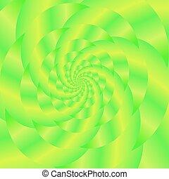 padrão, experiência., fractal, verde, espiral