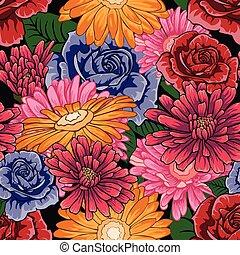 padrão experiência, seamless, pretas, lote, flores