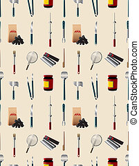padrão, ferramenta, partido, seamless, barbeque, caricatura