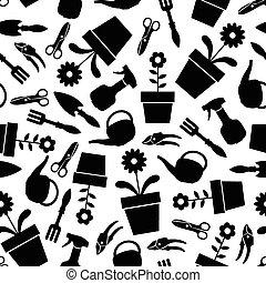 padrão, ferramentas, jardim, seamless