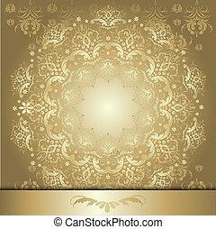 padrão, fita ouro
