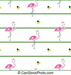 padrão, -, flamingos, listrado, seamless, vetorial, linhas, verde