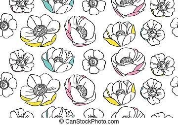 padrão, flor, anemone
