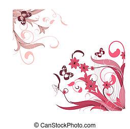 padrão, flor, canto