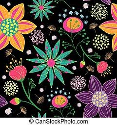 padrão, flor, coloridos, seamless, fundo